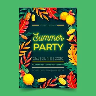 Cartel de diseño plano de letras de fiesta de verano de neón