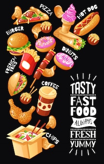 Cartel de diseño plano con menú para cafetería de comida rápida con hamburguesas, pizza, bebidas, postres de pollo
