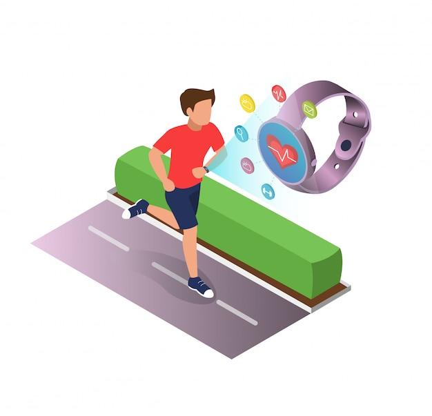 Cartel de dispositivos deportivos para la salud de dibujos animados plana.