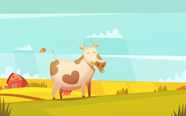 Cartel de divertidos dibujos animados de las tierras de labrantío del rancho de vacas y terneros con una granja en el fondo