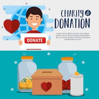Cartel de donación de caridad