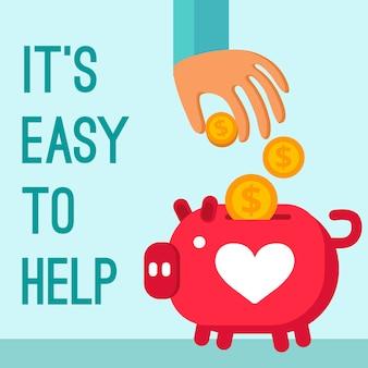 Cartel de la donación de la caridad