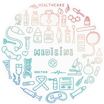 Cartel de doodle médico con tubos de ensayo de medicamentos y un termómetro gran conjunto de farmacia