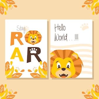 Cartel de la ducha del bebé con la ilustración linda del león