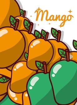 Cartel dulce jugoso fruta de mango