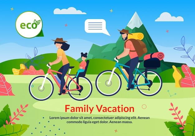 Cartel ecológico de vacaciones familiares en bicicleta