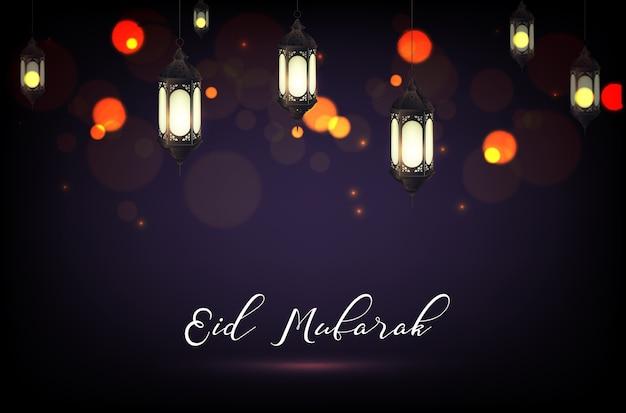 Cartel de eid mubarak con lámpara de linterna y fondo bokeh