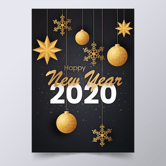 Cartel elegante de año nuevo 2020 con decoraciones colgantes