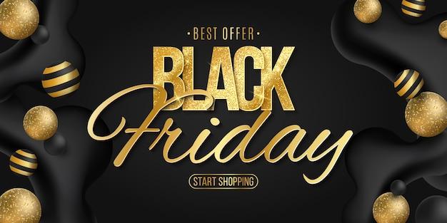 Cartel elegante para black friday. evento comercial comercial. formas dinámicas líquidas. vector. eps 10
