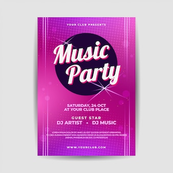 Cartel elegante del folleto del festival de música en vivo