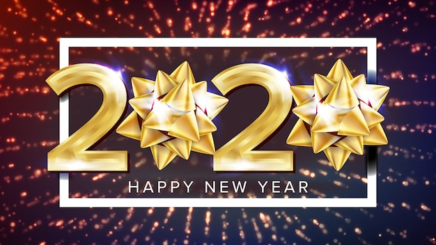 Cartel elegante de vacaciones de feliz año nuevo 2020