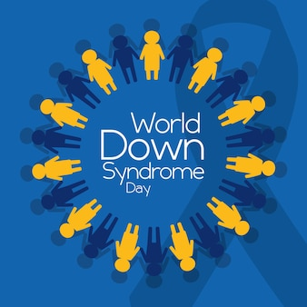 Cartel de emblema de mundo down syndrome day personas