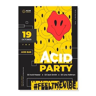 Cartel de emoji de acid house de diseño plano