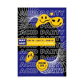 Cartel de emoji ácido de diseño plano