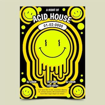 Cartel de emoji de casa ácida plana