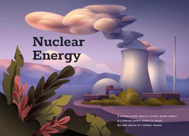 Cartel de energía nuclear. estación de energía nuclear