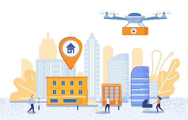 Cartel de entrega dirigida utilizando dibujos animados drones
