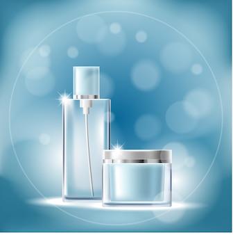 Cartel con envases de cosméticos transparentes sobre un fondo azul con efecto bokeh