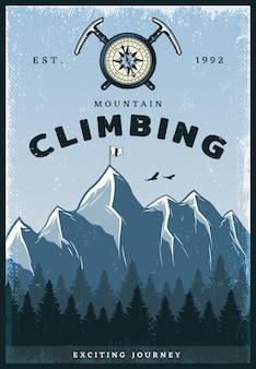 Cartel de escalada de montaña de color vintage