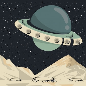 Cartel de escena espacial con ovni volando