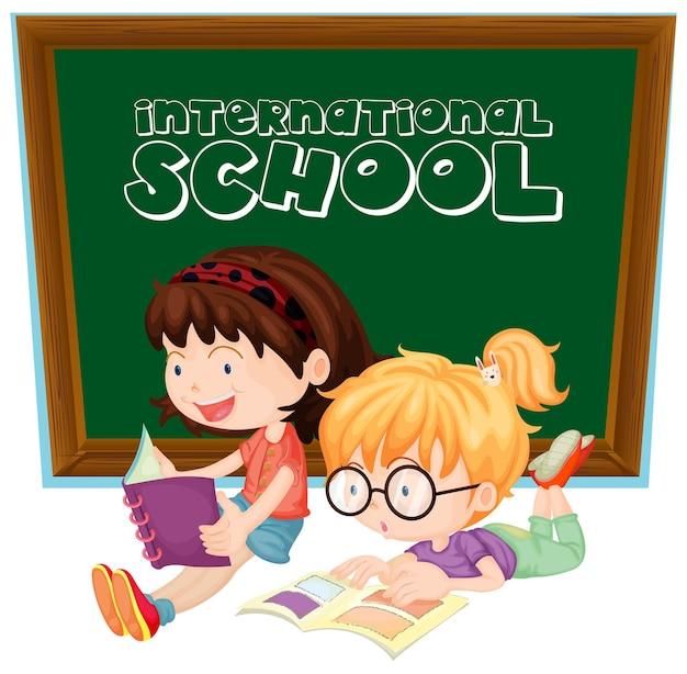 Cartel de escuela internacional con dos niñas leyendo libros