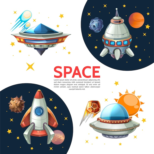 Cartel espacial colorido de dibujos animados con cohete lanzadera ovni sol planetas estrellas meteoros cometas asteroides ilustración vectorial