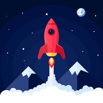 Cartel espacial con lanzamiento de cohete con paisaje de montaña en ilustración de vector de fondo