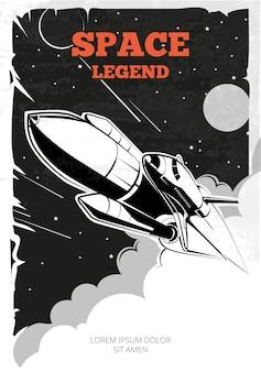 Cartel espacial vintage con lanzadera.