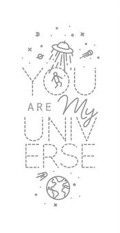 Cartel de espacio en letras de estilo plano eres mi universo dibujando con líneas grises sobre blanco