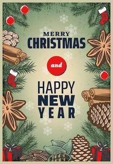 Cartel de especias navideñas de colores vintage