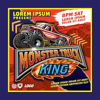 Cartel de espectáculo de monster truck