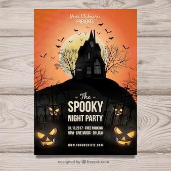 Cartel espeluznante de fiesta de halloween