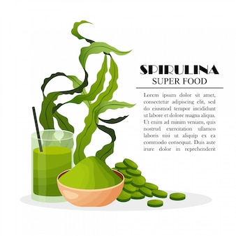 El cartel de la espirulina con las algas en polvo hace tabletas las algas del smoothie aisladas en el fondo blanco, ilustración. comida sana.