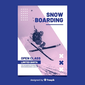 Cartel de esquí de memphis con foto de claroscuro