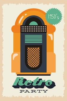 Cartel de estilo retro de fiesta con máquina de discos y diseño de ilustración de vector de precio de entrada