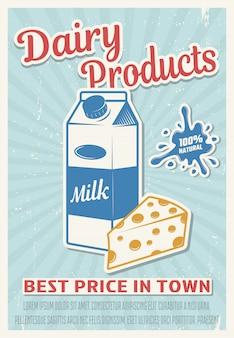 Cartel de estilo retro de productos lácteos