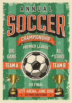 Cartel de estilo vintage grunge tipográfico de fútbol