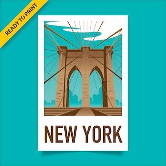 Cartel de estilo vintage, pegatina y diseño de postal con la vista del puente de brooklyn, en el horizonte de manhattan y nueva york en el fondo, cartel de estilo de película polaroid.