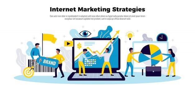 Cartel de estrategia de marketing en internet con símbolos de crecimiento empresarial planos