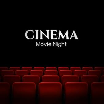 Cartel de estreno de cine con asientos rojos. antecedentes.
