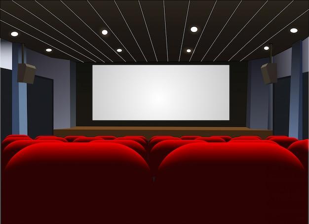 Cartel de estreno de cine con pantalla en blanco. .