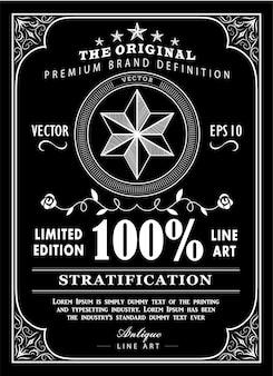 Cartel de etiqueta de tipografía de marco antiguo vector de diseño de pizarra vintage