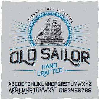 Cartel de etiqueta vintage antiguo marinero con recipiente en el círculo y alfabeto