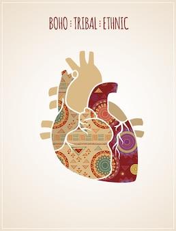 Cartel étnico tribal bohemio con icono de corazón