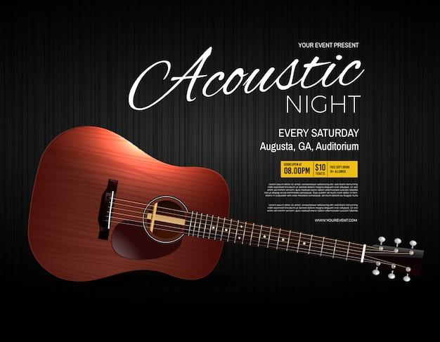 Cartel de evento de actuación en vivo de la noche acústica
