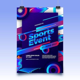 Cartel del evento deportivo 2021 con formas abstractas.