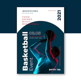 Cartel del evento deportivo 2021 con foto