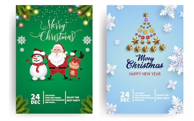 Cartel de evento de fiesta de navidad o plantilla de volante con santa, venado y muñeco de nieve