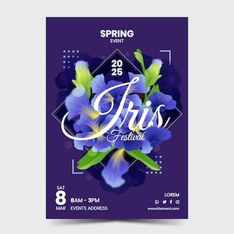 Cartel de evento de flor de iris
