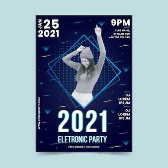 Cartel del evento musical 2021 en estilo memphis con foto